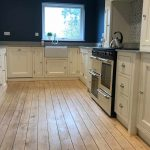 Kitchen base cupboards and range cooker